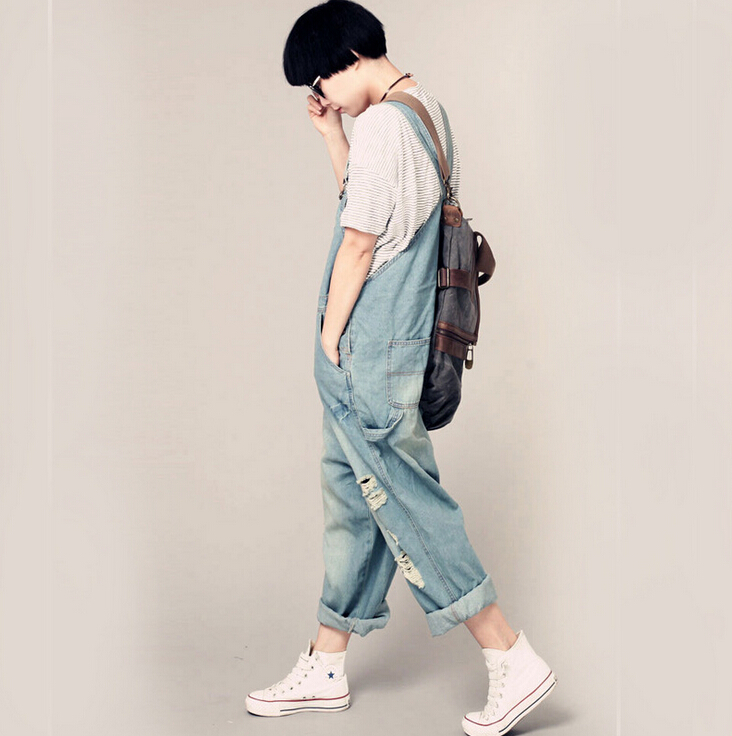 Spring Casual Baggy Blue Blue Overalls G175 Dark Hole Jumpsuit Pockets Womens Pants Denim Autumn Rompers Jeans New Loose Ripped light wxqIYOTwF