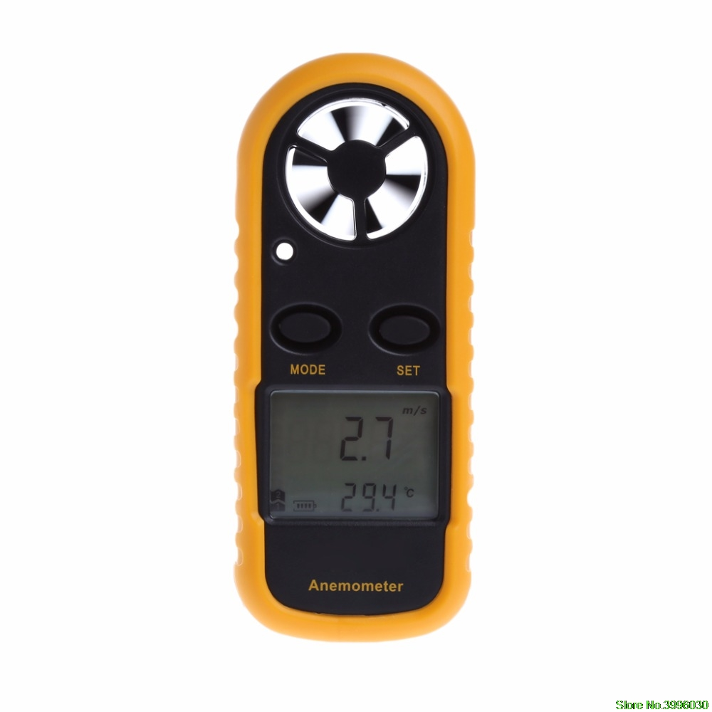 GM816 Mini Digital Anemometer Wind Speed Temperature Tester w/LCD Backlight gm816 mini digital anemometer wind speed 0 30m s temperature meter 10 45c with lcd backlight display