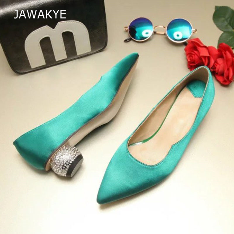 Newest Luxury Satin Single Shoes Woman Pointed Toe Rhinestone Strange Low Heel Shoes Lady Fashion Blue White Silk Wedding Shoes