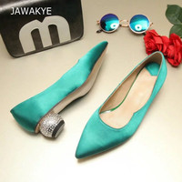 Newest Luxury Satin Single Shoes Woman Pointed Toe Rhinestone Strange Low Heel Shoes Lady Fashion Blue White Silk Wedding Shoes