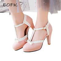 EOFK Women's Pumps Summer T strap Ladies shoes Medium Heels Pumps Sweet Butterfly Knot Round Toe Elegant Women Shoes