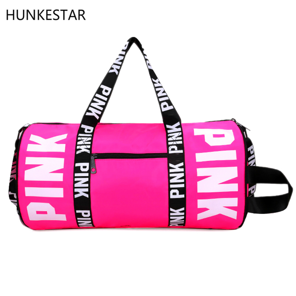2018 Girl Pink Duffle Bag Cheap Beach Shoulder Bag Large Capacity Gym Bag Overnight Weekend Outdoor Yoga Bag