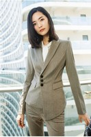 High Quality Fabric Uniform Designs Pantsuits For Women Business Work Wear With Pants and Blazers OL Styles Trousers Sets