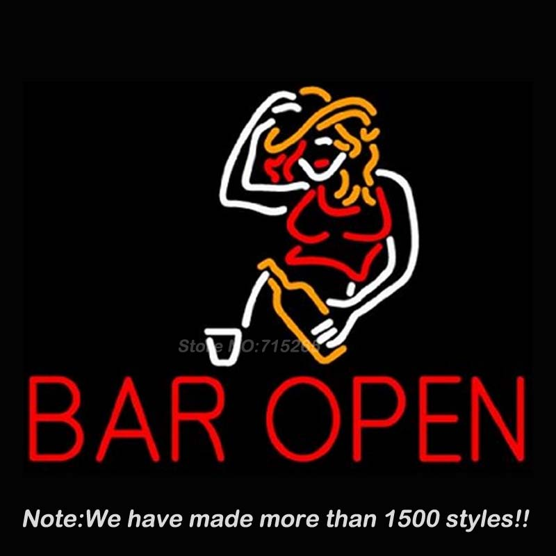 Bar Open Design Decorated Girl Neon Sign Neon Bulbs Store Display Real Glass Tube Quality Guarantee Handcraft Fashion VD 17x14