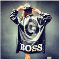 2016 Spring and Summer Korean YOKOSUKA GD bigbang PU BOSS Oversize Black Unisex Trench Hip-Hop Fashion