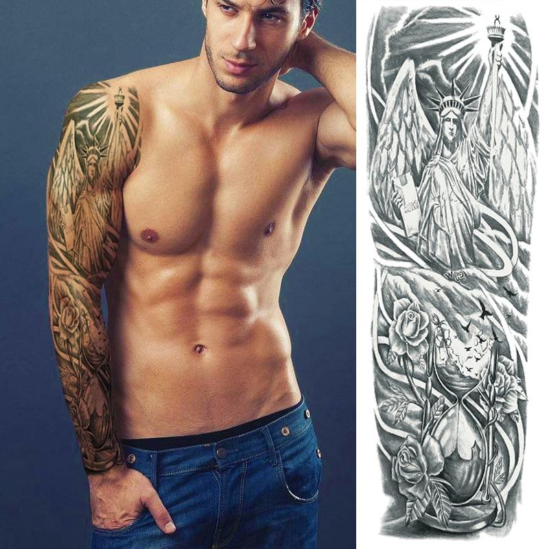 Temporary Tattoo Full Arm Sleeve Large Arm Sleeve Tattoo Waterproof Big Men Shoulder Tattoos Greek Gods Mythology Stickers Body
