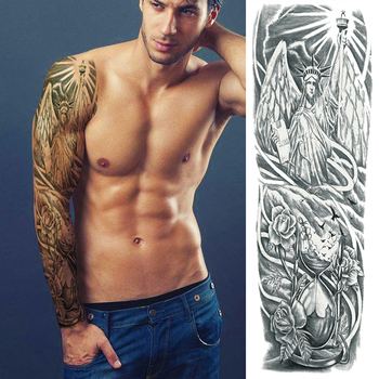 temporary tattoo full arm sleeve large arm sleeve tattoo waterproof big men shoulder tattoos greek gods mythology stickers body