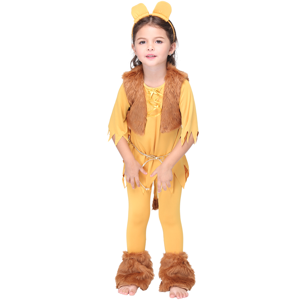 6pcs/set Cute Lion Animal Cosplay Suit Halloween Costumes for Kids Carnival Party Costume Set  Anime Cosplay Children