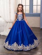 2017 Royal Blue Flower Girls Dresses For Weddings Lace Appliques Sweep Train Ball Gown Satin Little Girl Pageant Gown FH102