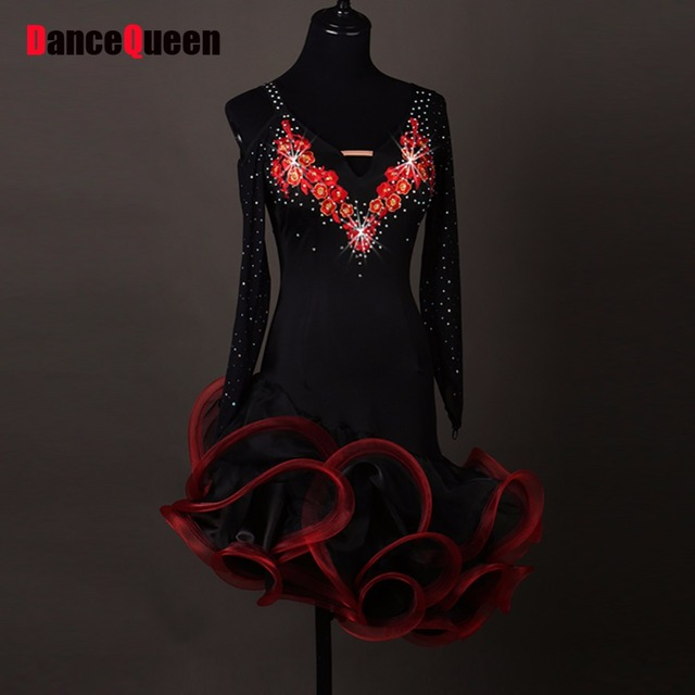 Currency Latin Dance Dresses For Las Black Color Rhinestone Long Sleeve Skirts Women Compete Square Indian