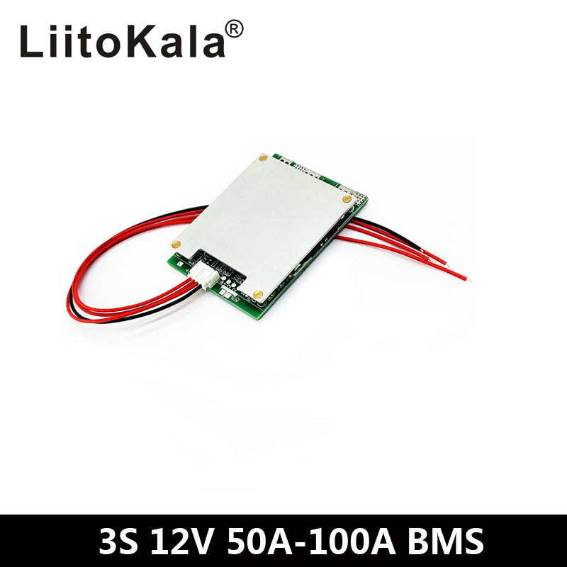 BMS <font><b>3S</b></font> 100A 12V Li-ion Lithium 18650 <font><b>Battery</b></font> protection circuit <font><b>Packs</b></font> PCB Board Balance Integrated Circuits Electronic Module image