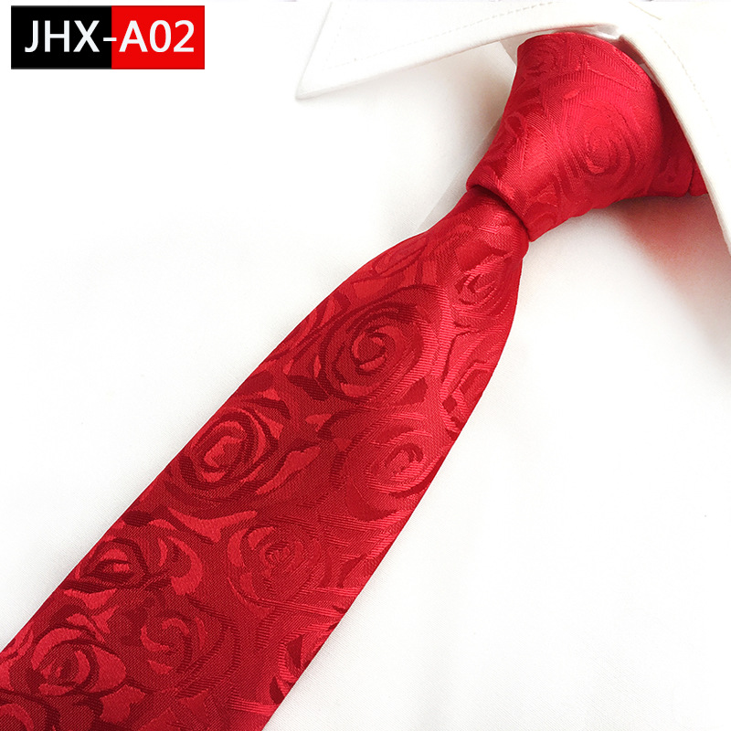 2018 New Red ROSE Pattern Ties Men's Trendy 8cm  Striped  Wedding Office Ties Ties For Men Gifts