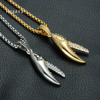 MCSAYS Hip Hop Stainless Steel Jewelry Iced Out Anchor Crab Claw Pendant 60cm Box Chain Bling