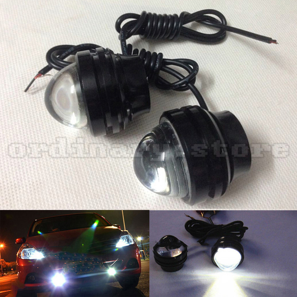 1 Pair Bright 15W Eagle Eye Hawkeye White LED Car Headlight DRL Daytime Running Light Driving