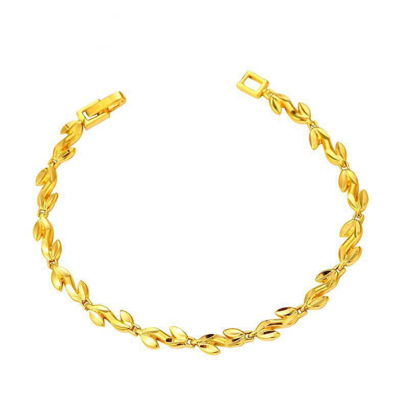 MxGxFam 19 センチメートルオリーブの枝のブレスレットジュエリーファッション女性オリジナルデザイン 24 18k 純金色アレルギーフリー
