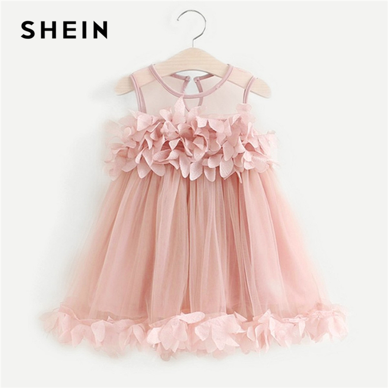 SHEIN Pink Toddler Girls Stereo Flowers Detail Mesh Party Dress Girls Clothing 2019 Spring Sleeveless Button Cute Girl Dress