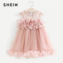 SHEIN/розовые вечерние платья из сетчатой ткани с цветами для маленьких девочек Одежда для девочек 2019 г. весеннее милое платье без рукавов на пуговицах для девочек
