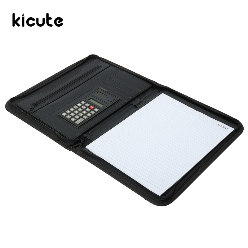 Kicute Conference Folder Zipped A4 Leather Portfolio Organizer With Calculator Document Bag Manager File Folder Bussiness Supply new hot a4 pu folder with calculator multifunction folders sales manager folder contract signing folder free shipping
