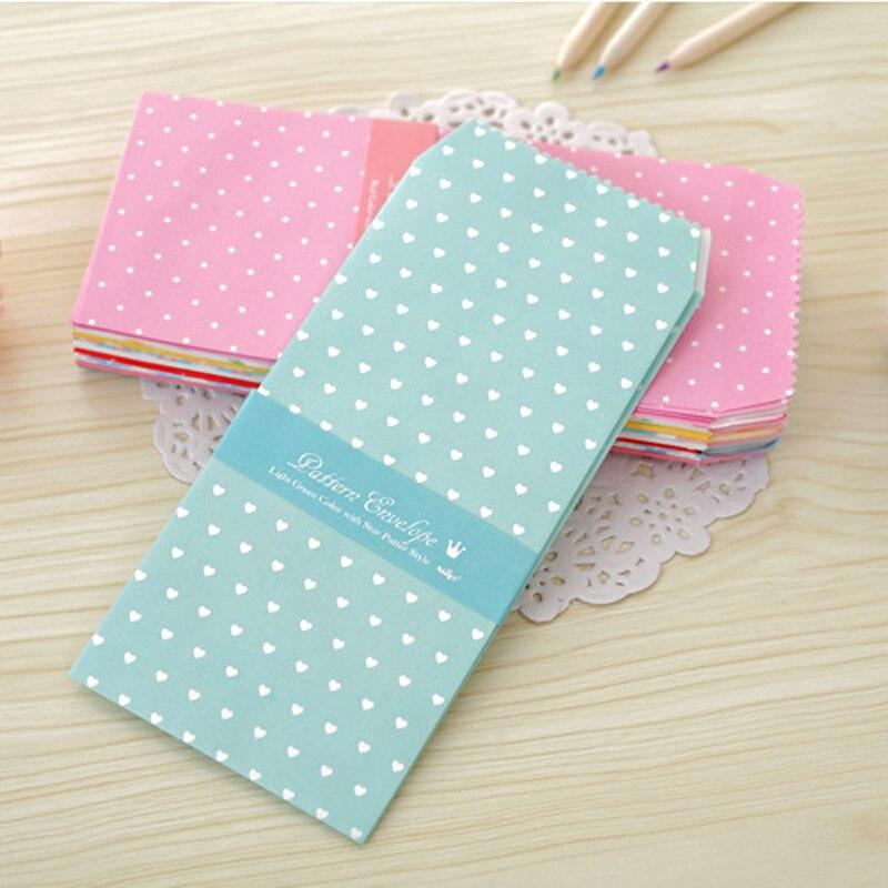 5 Pcs/bag New Cute Cartoon Kawaii Paper Colorful Dot Star Envelope For Gift Card Baby Korean Stationery Free Shipping