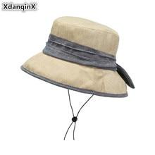 XdanqinX Summer Womens Breathable Hat Large Sun Visor Bucket Hats Wind Rope Fixed Fashion Beach NEW Elegant Ladies Sunhat