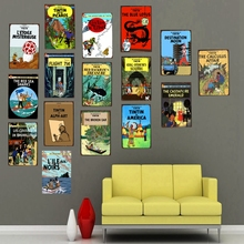 Tintin Cartoon Movie Tin Sign Metal Retro Vintage Pub Cafe Home Art Kids Room Wall  Decor Unique Gift Cuadros A-1088