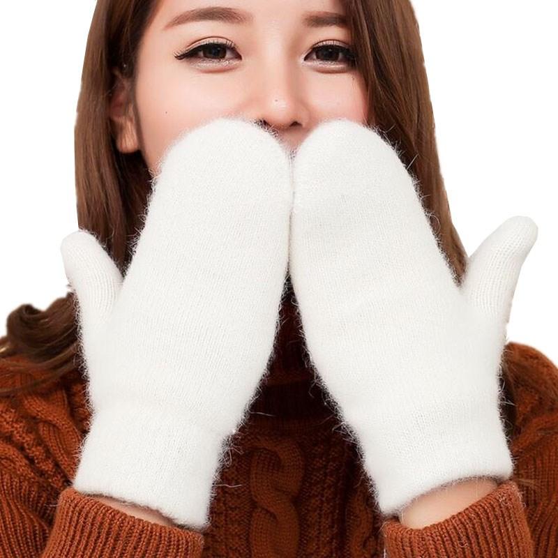YGYEEG מלא אצבע ספורט לבן חורף כפפות 2018 אופנה בנות סקייט צמר כפפות Femme כפפות חם נשים לשמור כפפות חמות