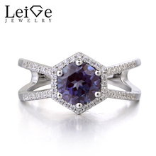 Leige Jewelry Color Changing Gemstone Lab Alexandrite Ring Wedding Rings Round Cut June Birthstone 925 Sterling Silver Ring