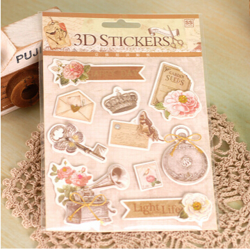 5 sets of Vintage Scrapbooking 3D Stickers For Travel