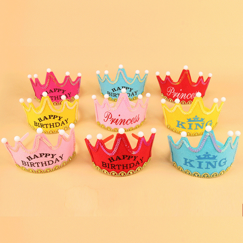 0-3 Years Baby Party Crowns Hot Toys Set Paper Crowns Kids Hat Toys Birthday Party Crown Headgear Birthday Party Accessories Toy