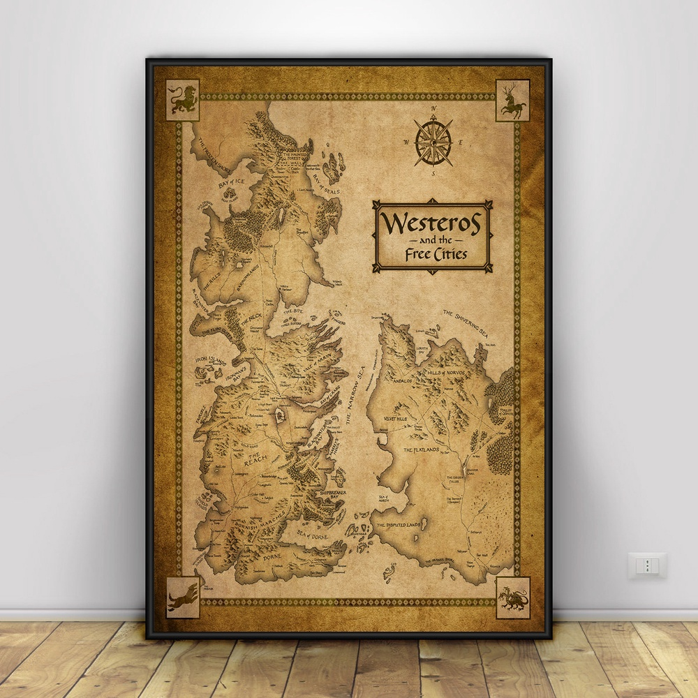 game Of Thrones Map Westeros Tv shows Art Silk Poster Home Decor 12x18 24x36inch