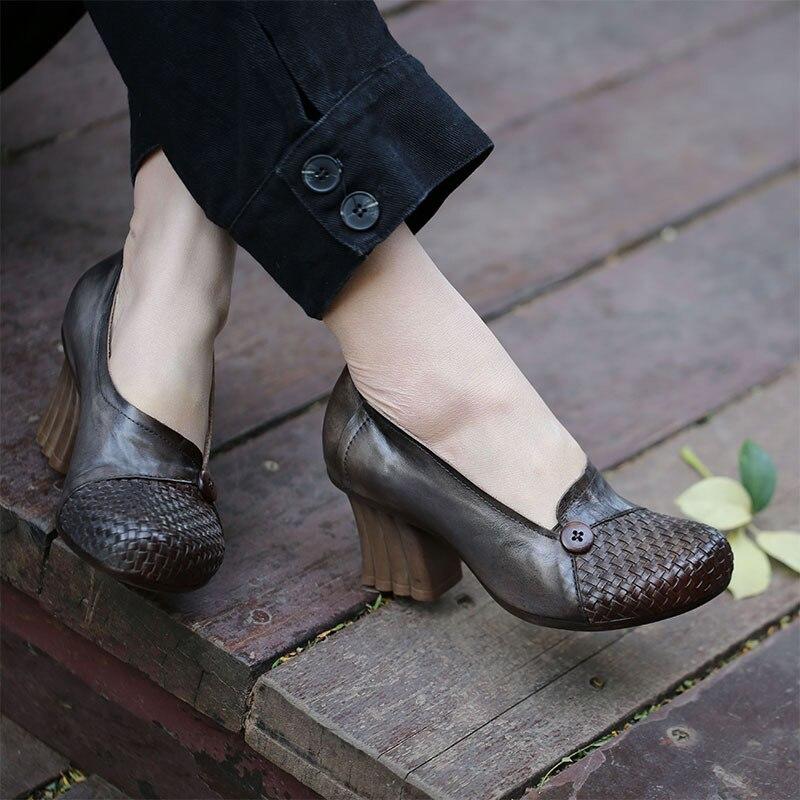 Tyawkiho ของแท้ปั๊มหนังผู้หญิง 2018 ฤดูใบไม้ผลิชุดเท้ารองเท้าขี้เกียจ 6 CM รองเท้าส้นสูง Retro Retro หนังแท้ยี่ห้อ-ใน รองเท้าส้นสูงสตรี จาก รองเท้า บน   1