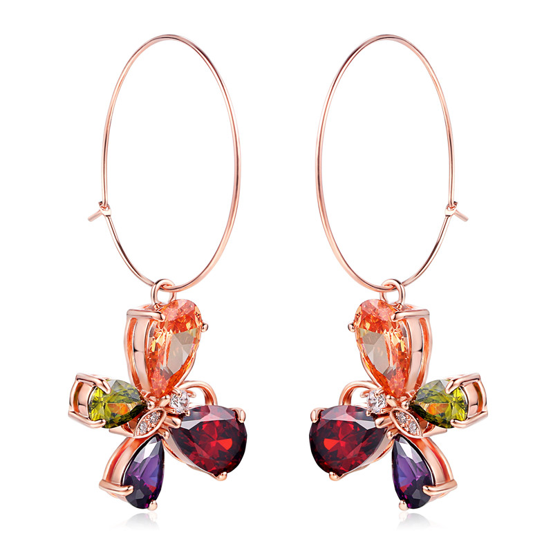PISSENLIT Clover Shape Drop Earrings Colorful Rhinestone Women Jewelry 2019 New Fashion Grace Summer For Beach