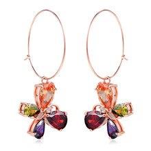 PISSENLIT Clover Shape Drop Earrings Colorful Rhinestone Women Jewelry 2019 New Fashion Grace Summer For Beach
