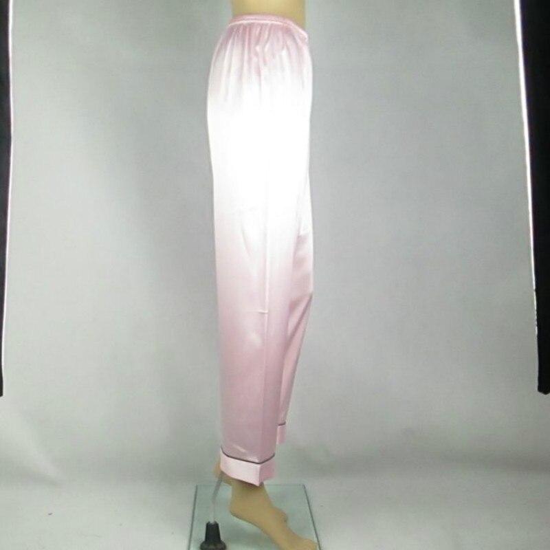 Women Faux Silk Casual Pyjama Trousers Multicolor Plus Size XS-3XL Elastic Waist Long Pajama Pants Smooth Sleep Wear 038-A160 2