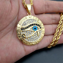 Men's & Women's Necklace The Eye of Horus Pendant & Chain Gold Color Stainless Steel Round Necklaces Ancient Egypt Jewelry(China)