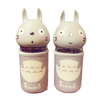 Cartoon Totoro Flower Milk Cup Student Lovely Adorable Glass Originality Portable Bring Cover Heat Resisting Portable