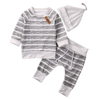 3Pcs Baby Clothes Autumn Baby Boys Girls Rompers Striped T Shirt Tops Long Pants Hat Cotton