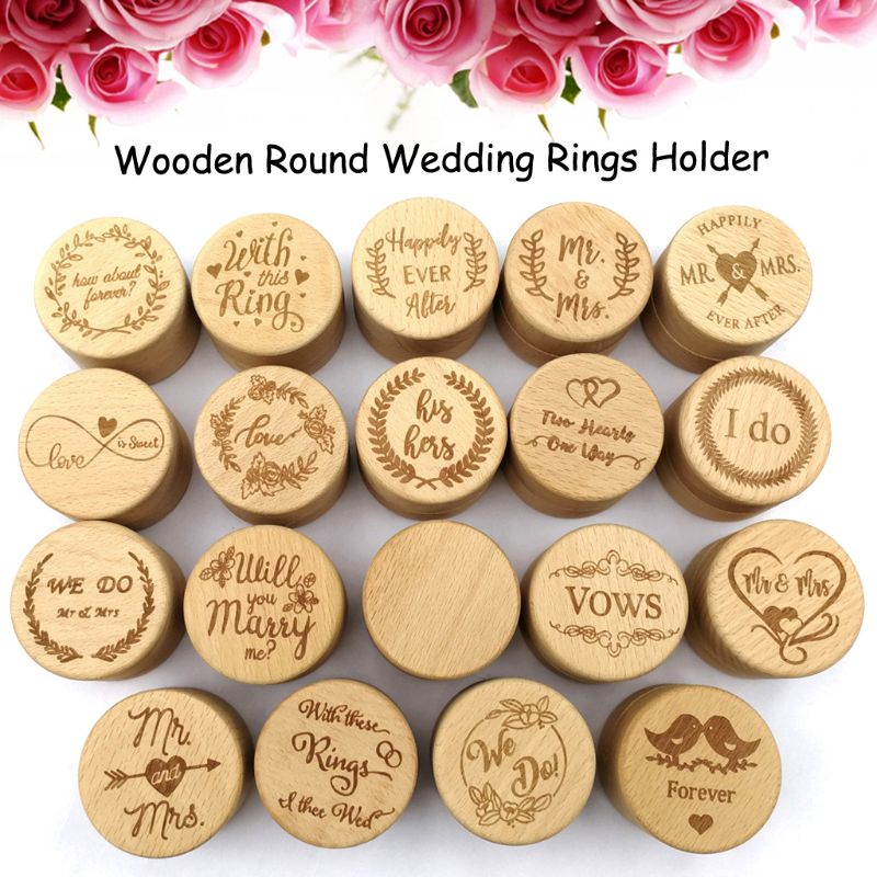 Personalized Rustic Wedding Wooden Ring Box Jewelry Trinket Storage Container Holder Custom Rings Bearer Blank DIY