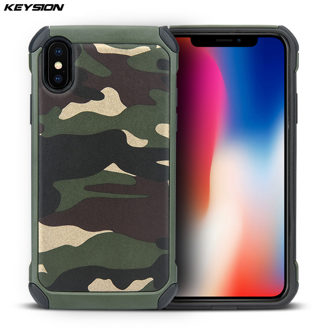 quality design 7fc94 91db7 US $4.68 33% OFF|KEYSION Phone Case for iPhone X Army Camouflage 2 in1  Pattern PC+TPU Armor Anti knock Protective Back Cover For iPhone 10-in  Fitted ...