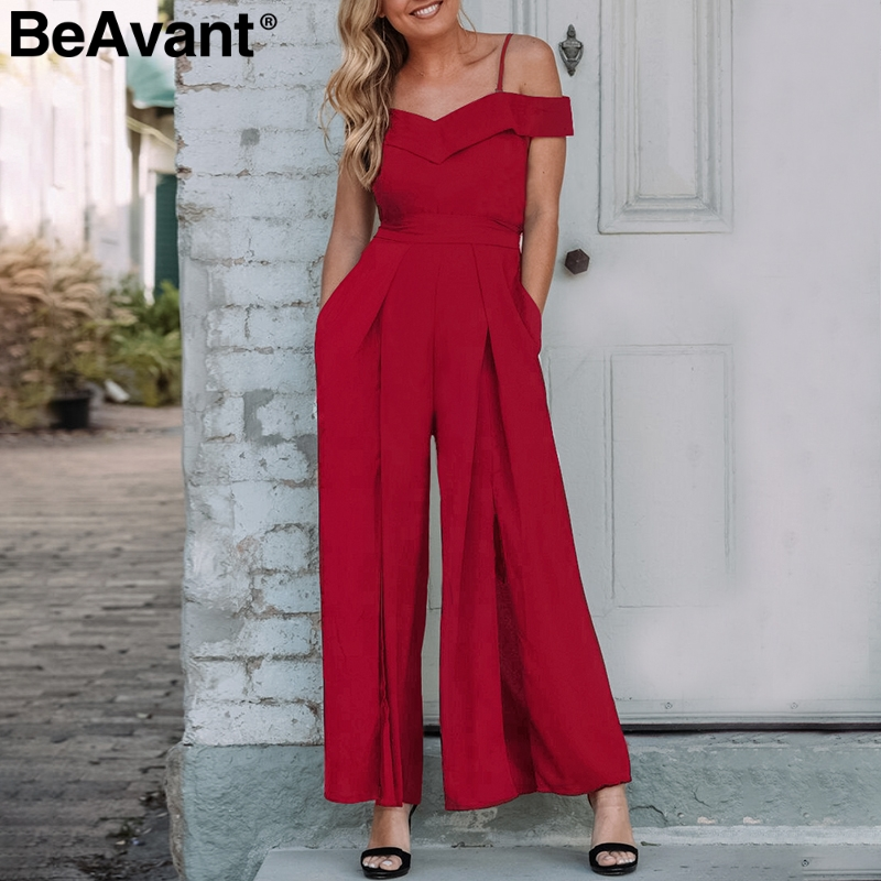 BeAvant Off shoulder rompers womens   jumpsuit   Wide leg summer female   jumpsuit   casual Stap backless loose overalls playsuit 2019