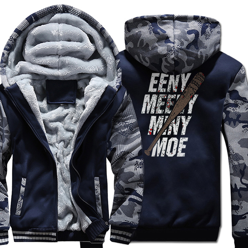 The Walking Dead Print EENY MEENY MINY MOE Casual Hoodie 2018 Spring Winter Fleece Thick Sweatshirts Men Hoodies Brand Tracksuit