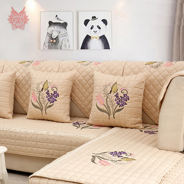 Pastoral Floral Embroidery Cotton Quilted Sofa Cover Slipcovers Capa