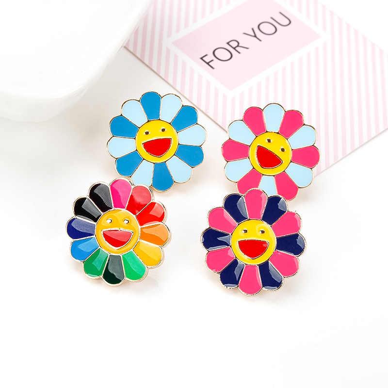 Wanita Bros Jepang Murakami Warna Warni Bunga Matahari Tas Kerah Kerah Wajah Logam Pin Kartun Lencana Anak Perhiasan Aliexpress