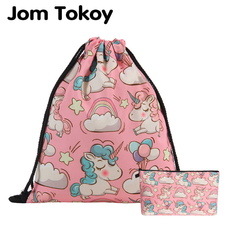 Jom Tokoy 2019 New fashion 2 PCS 3D Printing Women backpack Pink unicorn Drawstring bag Set Combination