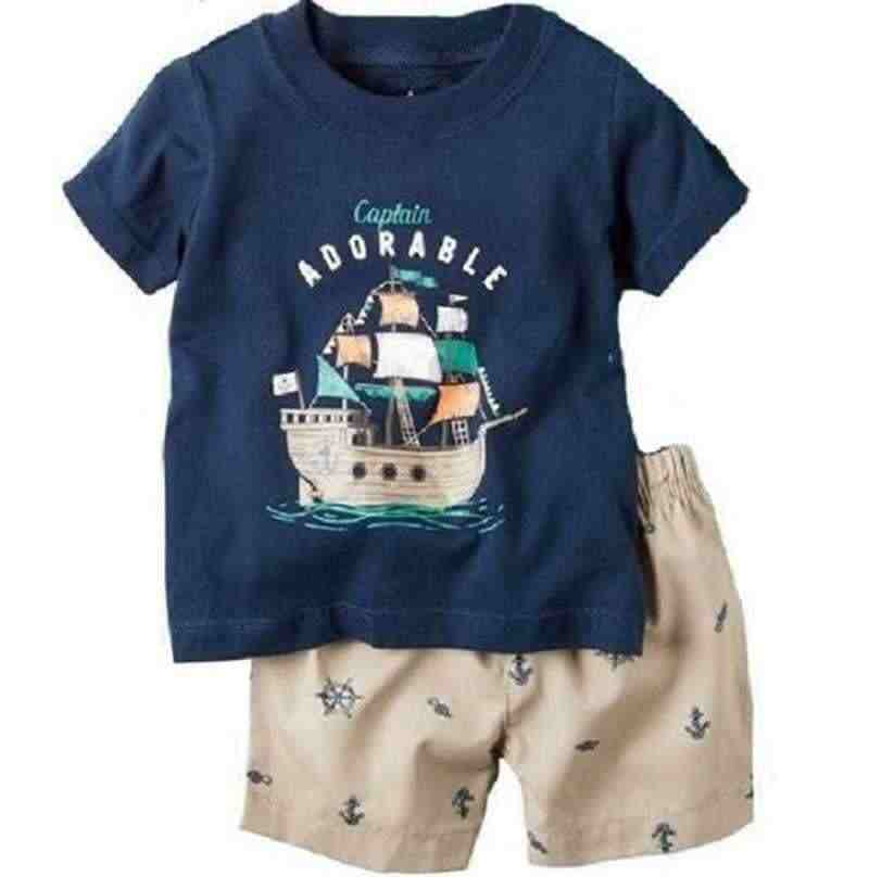 Baby Kleding Set Casual Sailor Navy Anker Jongens Zomer Outfits Tee Shirts Shorts Pant 2-Pieces Pak Baby Outfits Tops 0-2 jaar