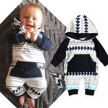 Модная одежда для маленьких мальчиков; осенние толстовки с капюшоном для новорожденных; толстовки с геометрическими фигурами и треугольниками; одежда в полоску для мальчиков; комплект одежды