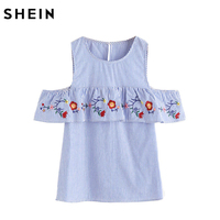 SheIn Women Summer Open Shoulder Embroidered Flounce Trim Striped Top Blue Short Sleeve Womens Tops And