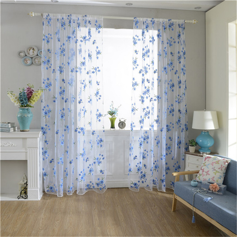 New 1pc Window Curtain 100cm 200cm 2 Color Flowers Tulle Voile