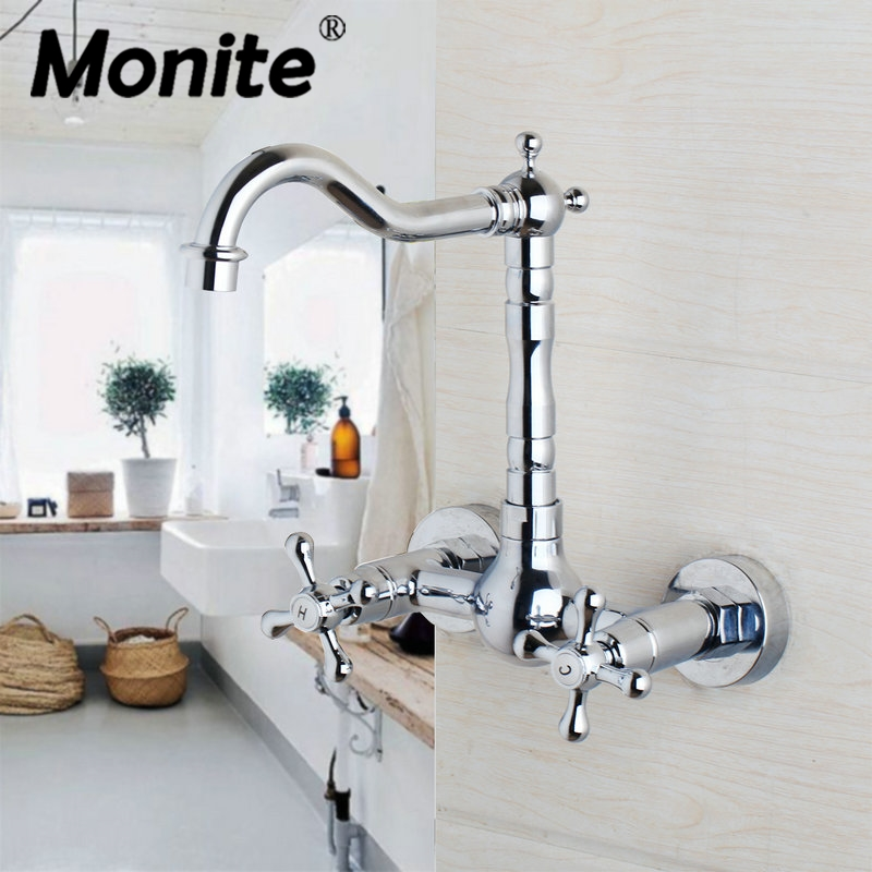 360 Swivel Wall Mounted Chrome Brass Bathroom Basin Faucet Vanity Sink Mixer Tap Two Handles 2 Holes bakala free shipping bathroom basin sink faucet wall mounted square chrome brass mixer tap with embedded box lt 320r