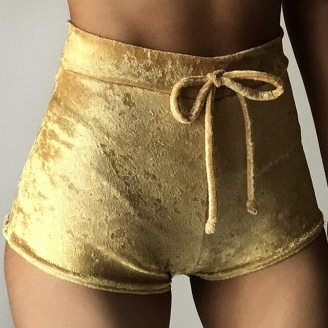 Velvet Drawstring Shorts Casual High Waist Spring Summer Sexy Skinny Short Pants 32